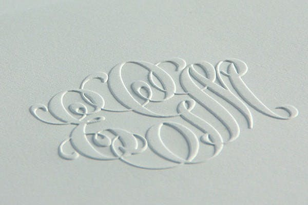 Luxury Stationery - Embossing Example from Crane & Co